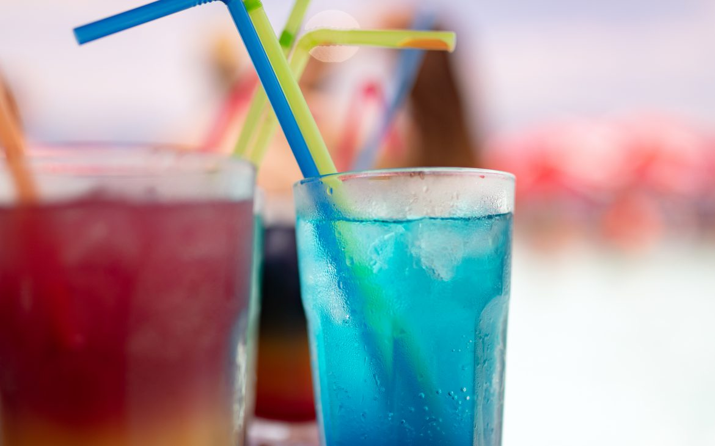 Tropical fresh cocktails drinks on tropical beach